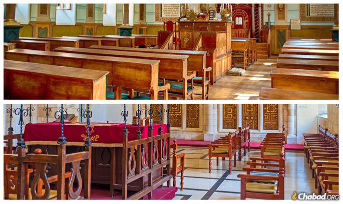 Top: An Ashkenazi synagogue with the seating facing east. Below: A Sephardi synagogue with the seating facing the center.