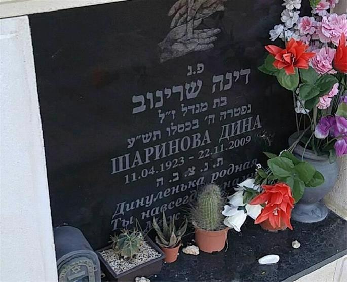 The grave of Dina Sharinov in the Tel Regev Cemetery in Israel (credit: Gal, billiongraves.com)