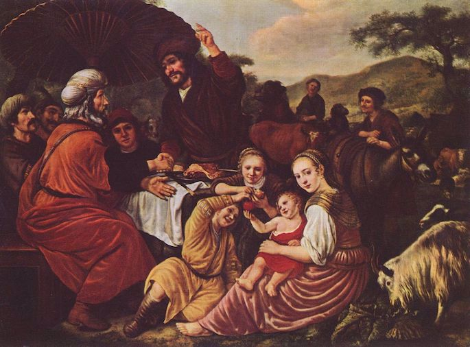Moses takes his leave of Jethro (Jan Victors, c. 1635).
