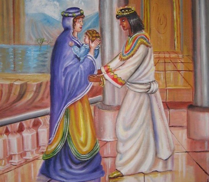 Batya handing baby Moses to Yocheved for nursing care (© Ahuva Klein).