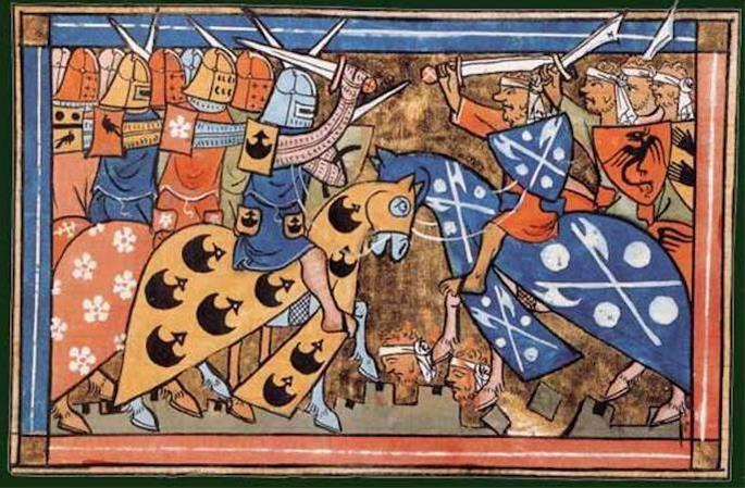 A battle of the Second Crusade (illustration of William of Tyre's Histoire d'Outremer, 1337)