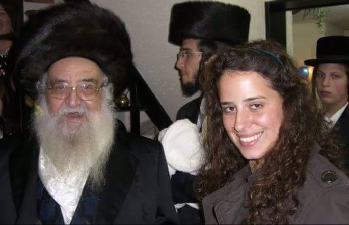 With my grandfather, Reb Meir Halberstam, of righteous memory, 12 years ago at his 80th birthday.