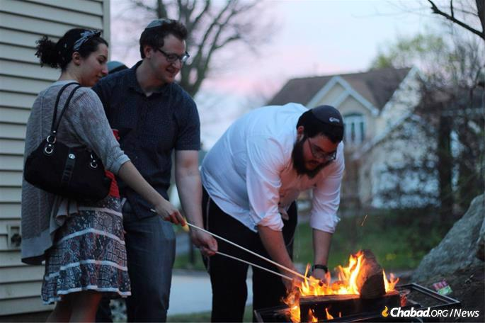 At the Lag BaOmer bonfire for UMass medical students, faculty and staff