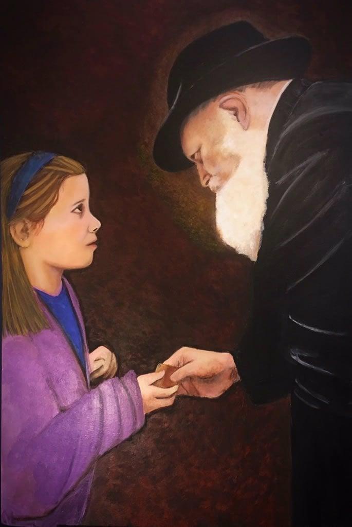 ילדה מבקשת פרוסת עוגת דבש - 'לקח' מהרבי מלובביץ'. חנה רבקה חבקין