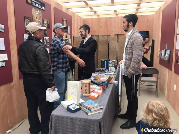 Men had the opportunity to don tefillin for the first time in awhile.