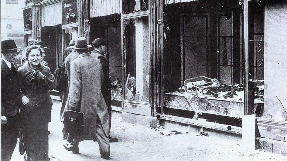 """In the infamous atrocities of Nov. 9-10, 1938, known as Kristallnacht (""""The Night of Broken Glass""""), Nazis and civilian conspirators throughout Germany torched synagogues; vandalized Jewish homes, schools and businesses; murdered hundreds; and dragged thousands of Jews from their homes in what is considered to be the first act of the Holocaust."""