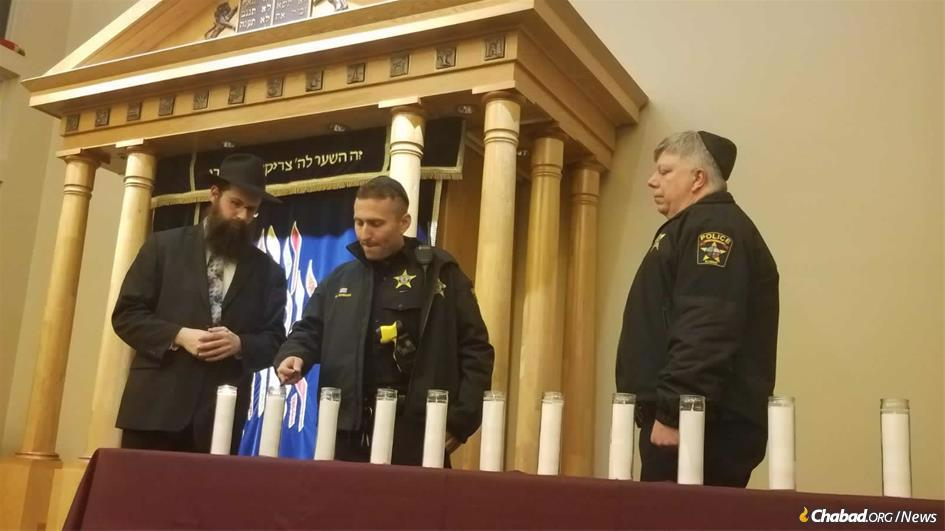 In Northbrook, Ill., a crowd of 200, representing a number of local congregations, joined together at their local Chabad synagogue on Sunday night.