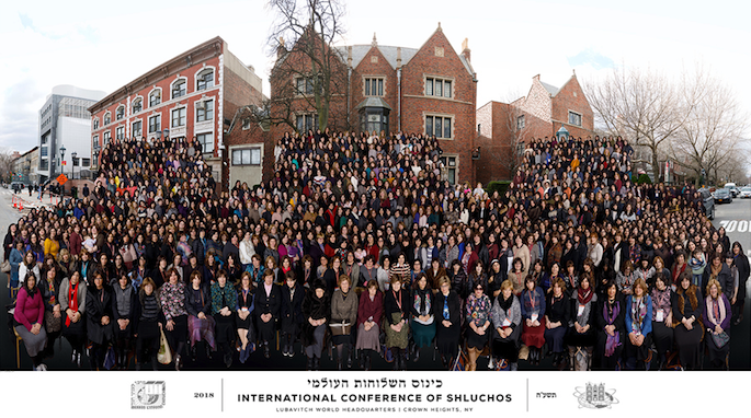 Women emissaries from around the world gathered for a group photo at the 26th annual Kinus Hashluchos, the International Conference of Chabad-Lubavitch Women Emissaries in Brooklyn, N.Y.