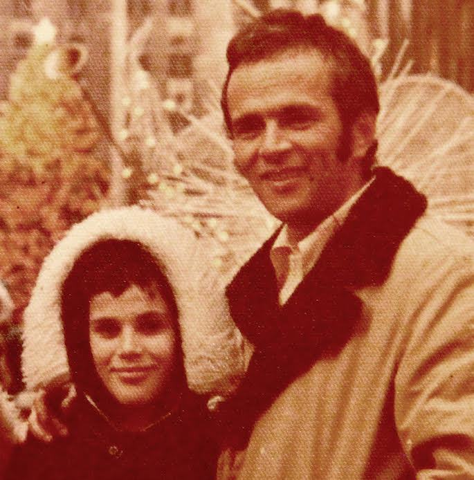 Putting my hands around my father in New York, circa 1976.