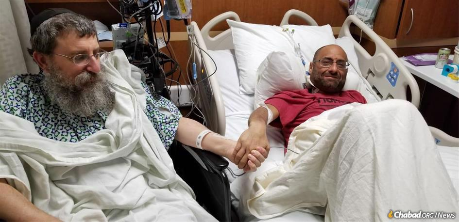 Rabbi Ephraim Simon and Adam Levitz after the partial liver transplant that saved Levitz's life.