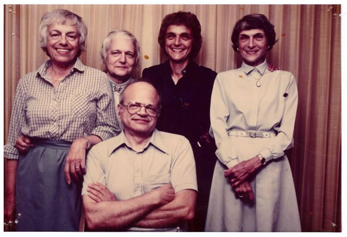 Five of Mr. Broida's six children. The author's mother is second from the right.