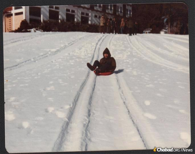 Most of the children had never seen snow before, seen here during a winter trip to Camp Mordechai.