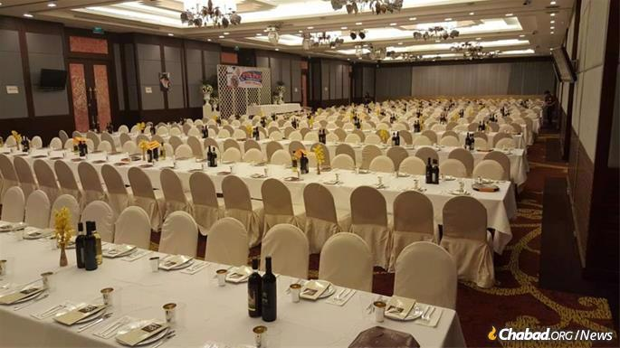 Setting up for the Passover Seder in Chiang Mai, Thailand.