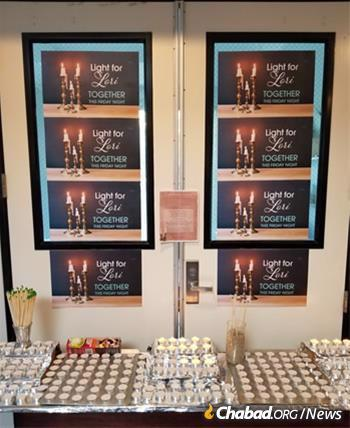 Shabbat candles to be lit by the many women and girls who attended services.