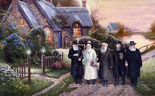 Da direita para esquerda Rebe Rayátz, Rebe Rashab, Alter Rebe, Tsêmach Tsêdec e o Rebe