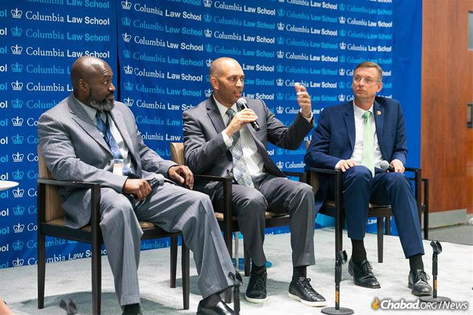 Discussing necessary steps for implementation of the 2018 First Step Act are, from left: Matthew Charles, FAMM criminal justice fellow, who was among the first released from prison as a result of the First Step Act; and House First Step co-sponsors Rep. Hakeem Jeffries (D-N.Y.) and Rep. Doug Collins (R-Ga.). (Photo: Meir Pliskin/Aleph Institute)