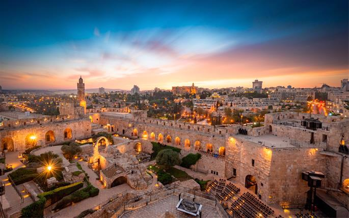 With the King David Hotel visible in the background, the Tower of David now serves as a museum of the history of Jerusalem — and hosts a famous sound and light show.