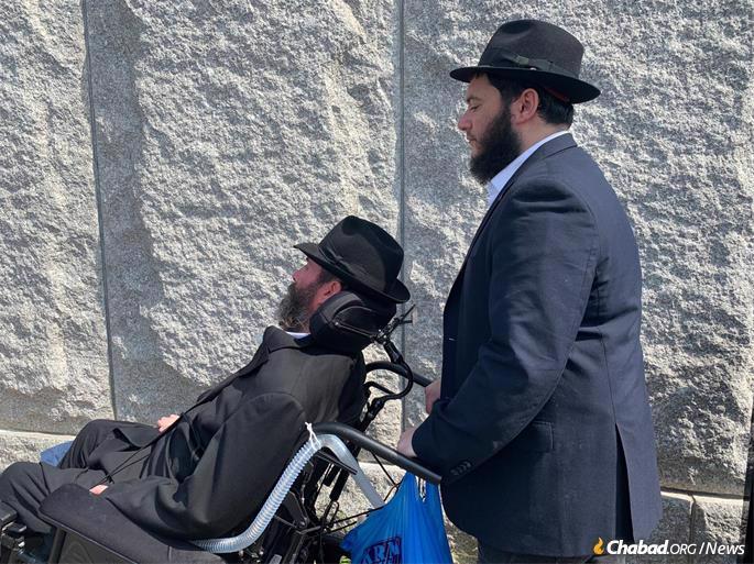 Hurwitz at the Rebbe's Ohel. (Photo: Levi Liberow)