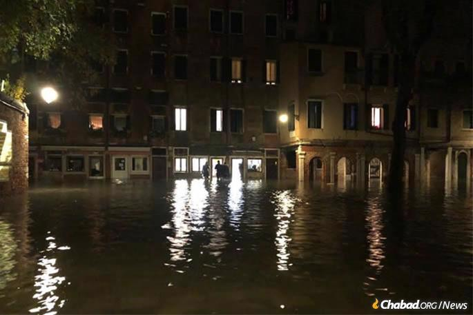 The scene outside Chabad of Venice after historic high tides and resulting floodwaters.