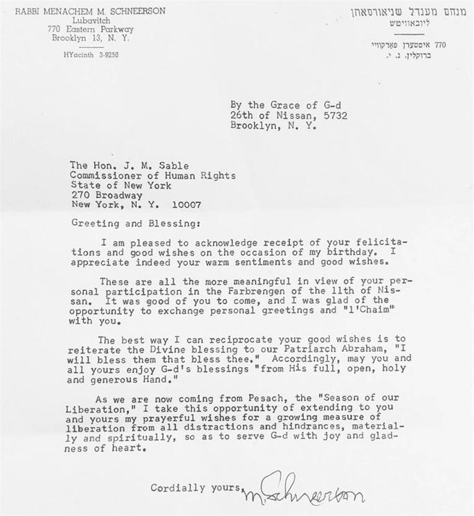 The Sable family has shared this letter. Jack M. Sable was at the 11 Nissan 5732 farbrengen representing Governor Rockefeller.