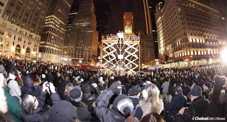 There was a large turnout at the historic Fifth Avenue menorah at 59th Street near Central Park, right outside of the Plaza Hotel. (File photo)