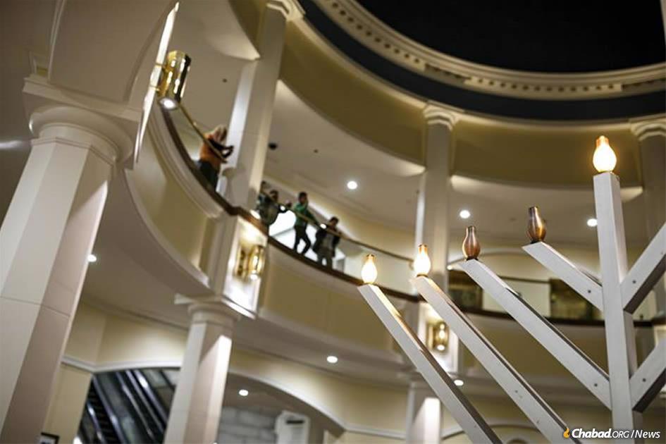Pennsylvania's menorah in the East Wing Rotunda of the Pennsylvania State Capitol in Harrisburg. (Credit: Dan Gleiter)