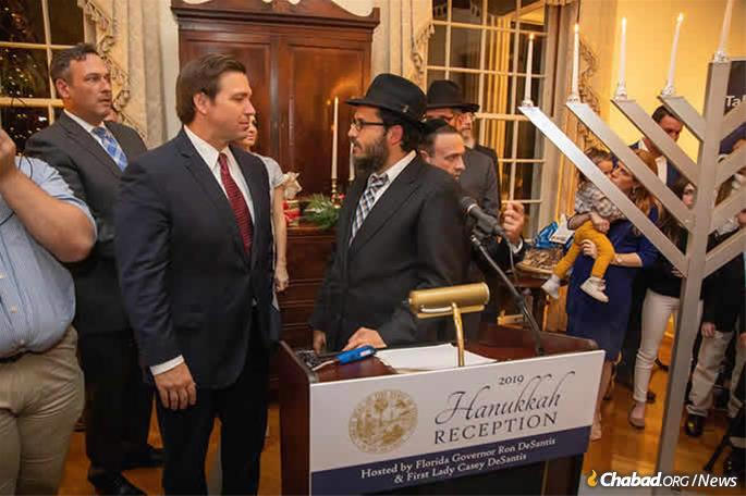 Gov. Ron DeSantis and First Lady Casey DeSantis held a Chanukah reception at the Governor's Mansion in Tallahassee. (Credit: Chabad Tallahassee)