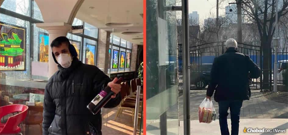 Jewish residents in Beijing pick up supplies before Shabbat.