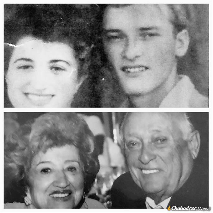 Henry and Fanny Eisen when they met while living in a DP camp in 1947 (top) and on their 60th wedding anniversary in 2007.