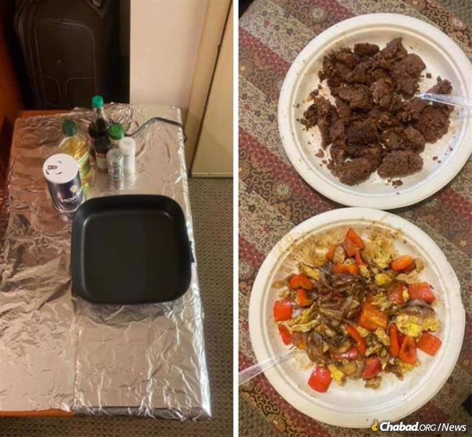 Thanks to the kosher ingredients and a makeshift kosher kitchen provided by the Fusses, Tebeka was able to cook a Shabbat meal while in quarantine.