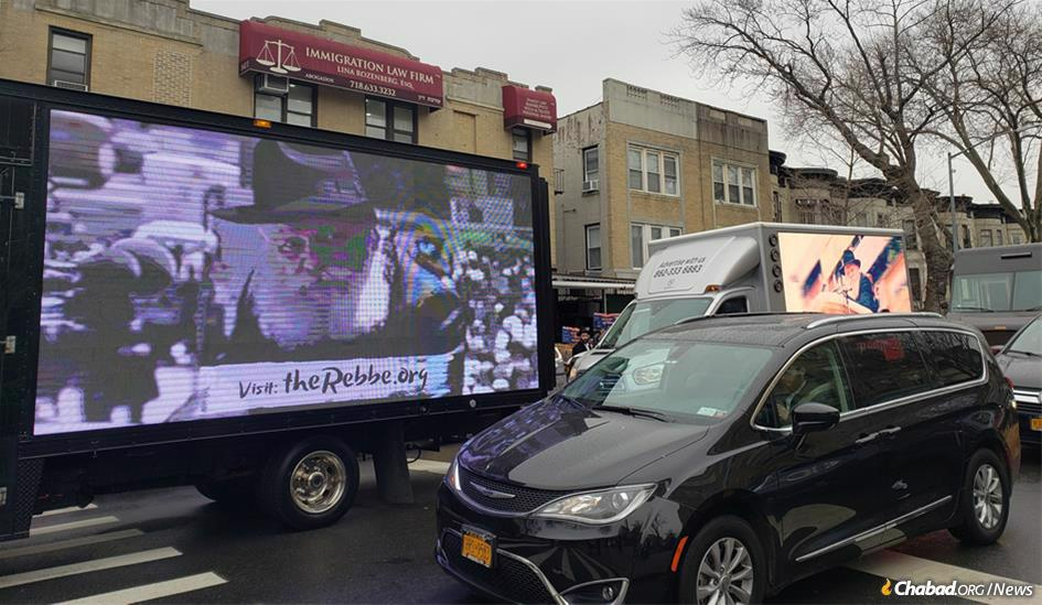 """In New York City, 70 """"mitzvah tanks"""" departed from 770 Eastern Parkway, the Chabad movement's Brooklyn, N.Y.-based headquarters, for Manhattan. The vehicles were staffed by an international team of students, from Australia to Russia, with eight languages spoken between them."""