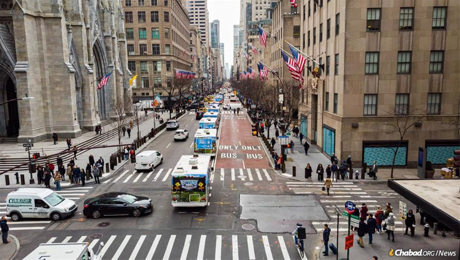 A mitzvah tank procession on Fifth Avenue in Manhattan was one of many activities to mark 70 years since the Rebbe—Rabbi Menachem M. Schneerson, of righteous memory—became leader of the Chabad-Lubavitch movement.