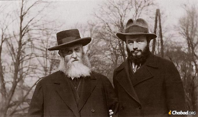 The Rebbe and his father-in-law, the Previous Rebbe, in Purkersdorf, Austria. (Photo: JEM/The Living Archive)