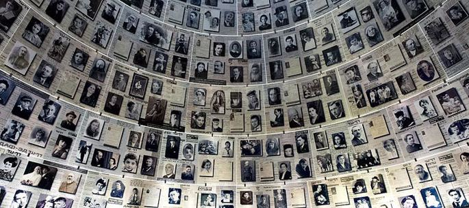 'Hall of Names', Salão dos Nomes' que presta homenagem às vítimas do Holocausto no museu Yad Vashem, Jerusalém.  Foto: David Shankbone via Wikimedia Commons.