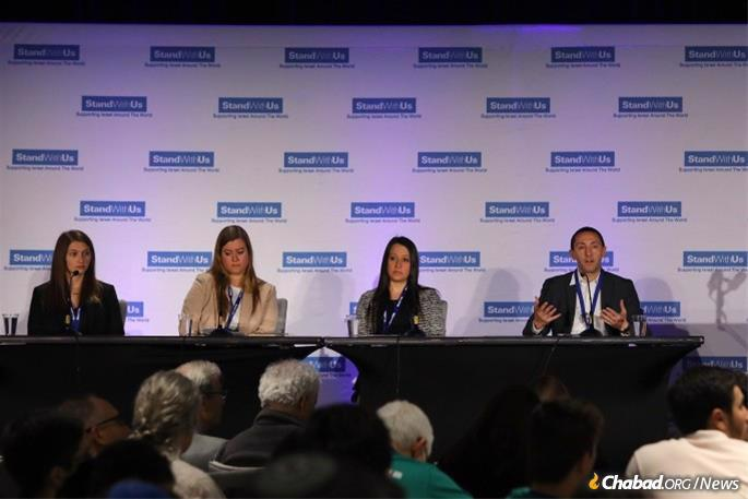Maddy Gun, left, shared her experience at a conference in Los Angeles with more than 550 college and high school students attending, dedicated to teaching students how to combat anti-Semitism.