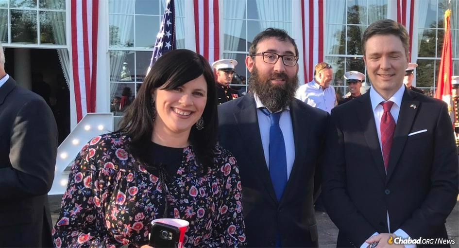 Rifky Lent and Rabbi Zalman Shimon Lent at a Fourth of July celebration at the U.S. embassy in Dublin.