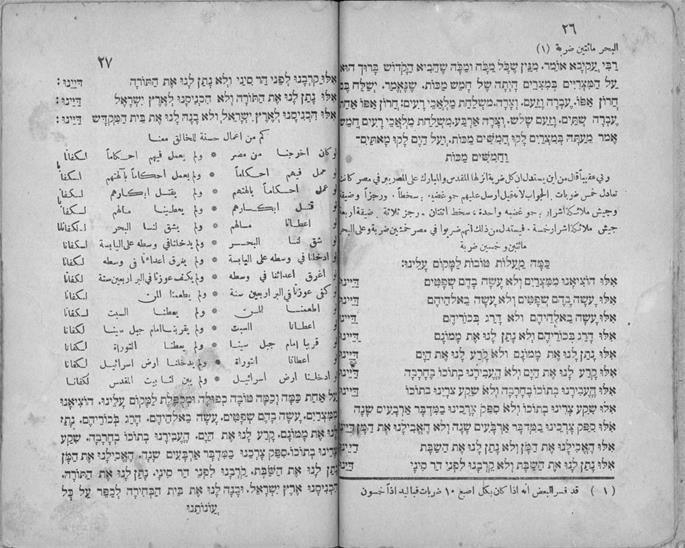 """""""Dayenu"""" in Hebrew and Arabic, in the Farhi Haggadah. (Photo: Wikimedia)"""