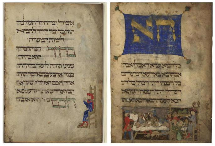 Pages from the Rothschild Haggadah. (Photo: Wikimedia)