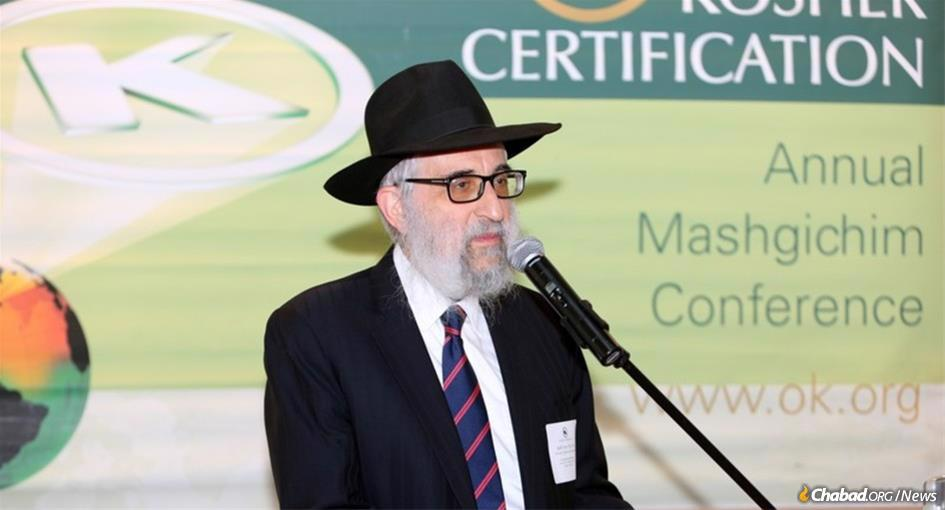 Rabbi Don Yoel Levy, known as a brilliant scholar, outstanding organizer and consummate professional, speaks at a conference of OK Kosher.