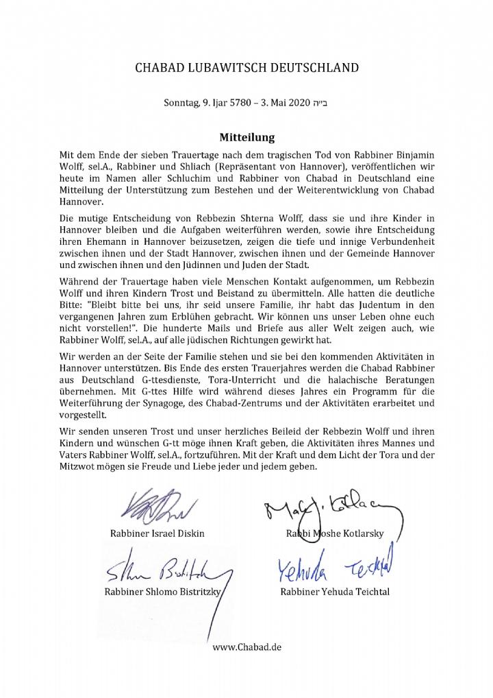 Mitteilung Chabad Deutschland, May 3, 2020.jpg