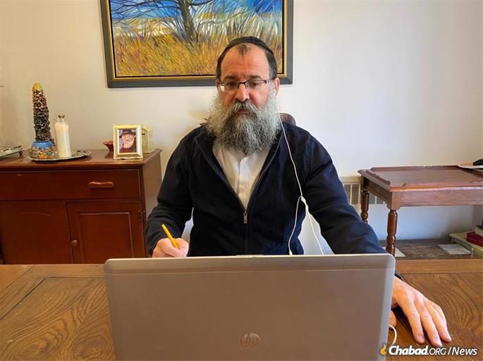 Rabbi Benyamin Bresinger, co-director of Chabad Lifeline, says he is busier than ever, as people who wouldn't normally make it to physical meetings attend via Zoom, Skype or by phone.