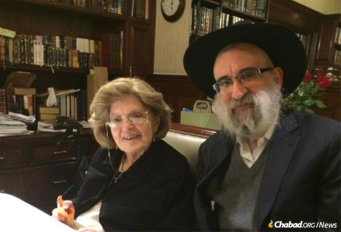 Mrs. Levy with her son, Rabbi Don Yoel Levy, who passed away just a few weeks after she did, on April 16, due to COVID-19.