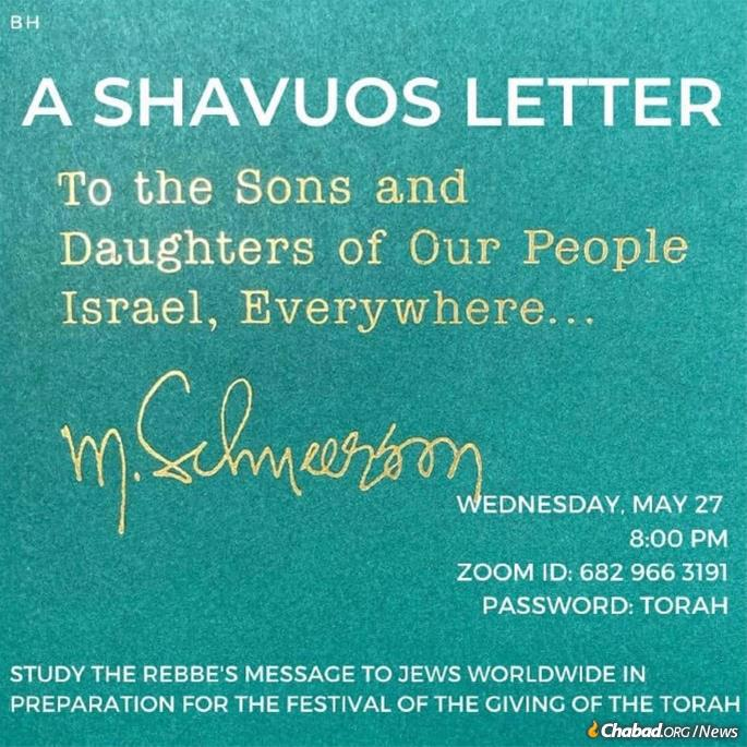 In Merion, Pa., a class at Chabad of the Main Line studied the Rebbe's michtavim klaliim (general letters) on Shavuot.