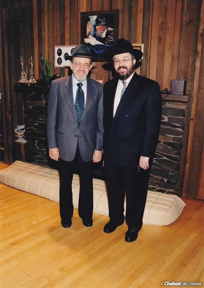 """Rabbi Lamm (left) with Chabad representative to Alaska Rabbi Yosef Greenberg during Lamm's Summer 2001 visit to Greenberg's Chabad House. Lamm spoke admiringly of the """"incalculable"""" and """"historic"""" contributions of the Rebbe's emissaries to strengthening Judaism worldwide."""