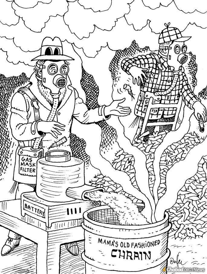 When masks were suggested for making horseradish for the Passover Seder (Credit: Al Jaffee/Tzivos Hashem)