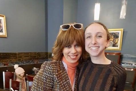 With Rebbetzin Pearl Krasjnansky, in 2020.