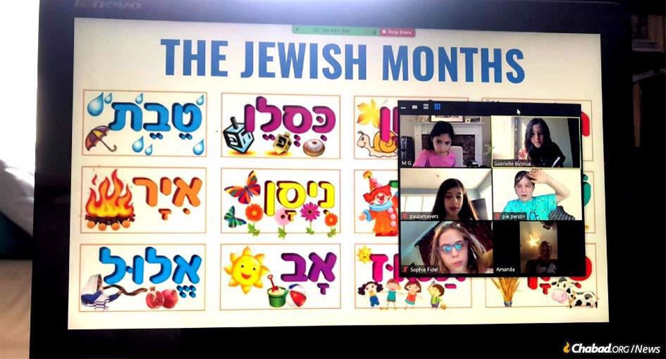 Students at the Chabad Jewish Center of Northwest Bergen County's Hebrew school learn about the Jewish months.