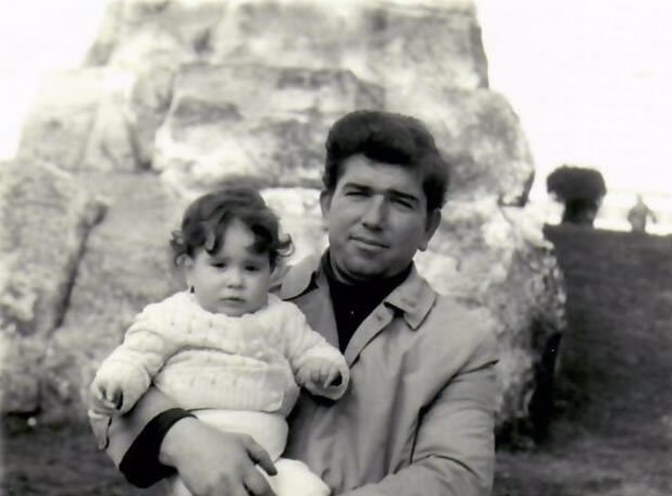 Irini with her father in Greece as a toddler.