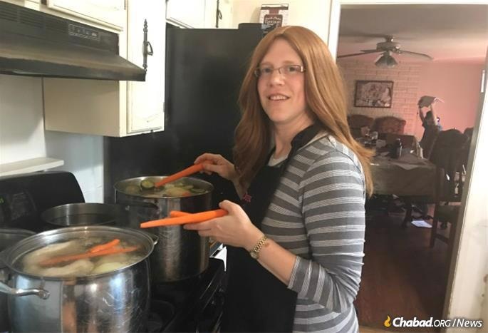 Faigy Zweibel, co-director of Chabad of Southern Oregon, prepares homemade soup for emergency workers and residents made homeless by the fires.