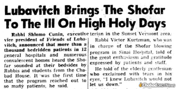 Public shofar did not remain only in Brooklyn, spreading to wherever Chabad emissaries brought the Rebbe's message. Above, a 1971 item in the Los Angeles Bnai Brith Messenger.